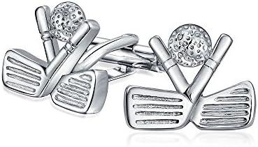 ロジウムコーティング 真鍮製 ゴルフモチーフ ショートゴルフクラブ ゴルフボール メンズ カフス カフスボタン