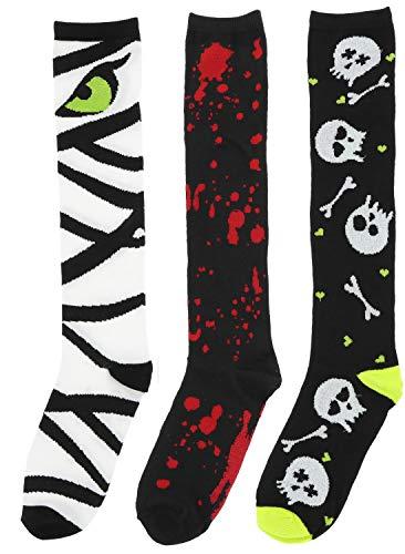 (Boo! Women's Halloween Knee High Socks (3Pr), One Size (Bloody Hands, Mummy Face,)