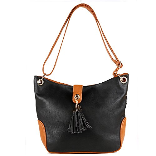 Top Handle Bag - Korjo Women Leather Handbag Purse Satchel Shoulder Tote Bags Designer Large Capacity for Women Laptop