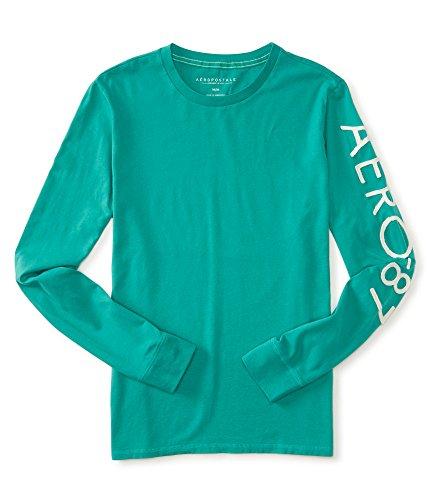 aeropostale-mens-long-sleeve-aero-87-marled-logo-graphic-t-shirt-xxl-green-6956