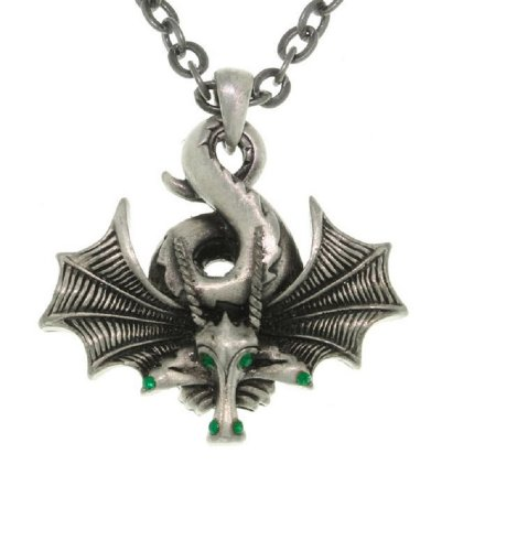 Jewelry Trends Curled Dragon with Wings Pewter Pendant Necklace 23
