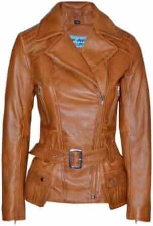 1b67d91c58a Smart Range Women's Feminine Washed Retro Vintage Biker Real Leather Jacket  2812