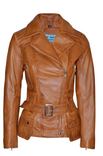 (Smart Range Women's Feminine Washed Retro Vintage Biker Style Designer Real Leather Jacket 8 Tan)