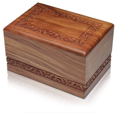 "Hind Handicrafts Beautifully Handmade & Handcrafted Rosewood Borders Engraving Wooden Cremation Box/Urns for Human Ashes Adult, Funeral Urn Box (Medium : 7"" x 5.5"" x 3.5"" - 100lbs or 45kg)"