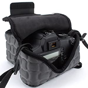 DSLR Camera Case / SLR Camera Sleeve by USA Gear with Zippered Accessory Storage , Flexible Neoprene & Holster Belt Loop - Works With Canon , Nikon , Sony , Olympus , Pentax and Many More