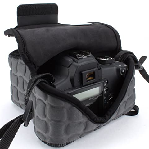 DSLR Camera Case / Camera Sleeve FlexARMOR X with Zippered Accessory Storage , Flexible Neoprene & Carabiner Belt Hook - Works With Canon , Nikon , Sony , Olympus , Pentax and Many Other Cameras