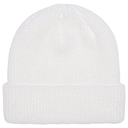 (FLEXFIT Ribbed Cuffed Knit Warm Winter Beanie Hat - WHITE)