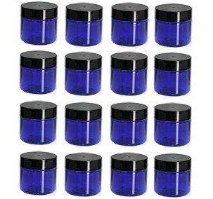 Nakpunar 1 oz Cobalt Blue Plastic Jars with Black Lids - Set of 16 One Oz Jar