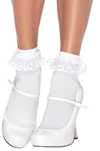 (ToBeInStyle Women's Lace Ruffle Anklet Socks - White - One Size)