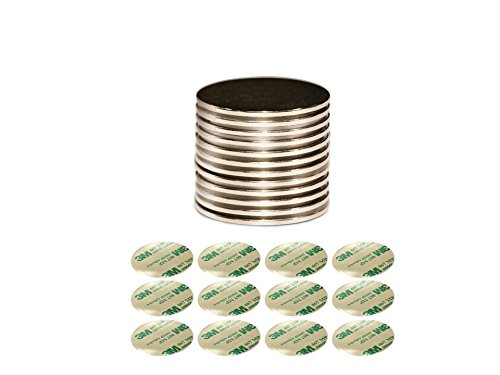 "Strongest Grade N52 Neodymium Magnet Discs | Bonus 3M Double-Sided Adhesives Included | Set of 12 Large Discs - 1.26"" x 1/16"""
