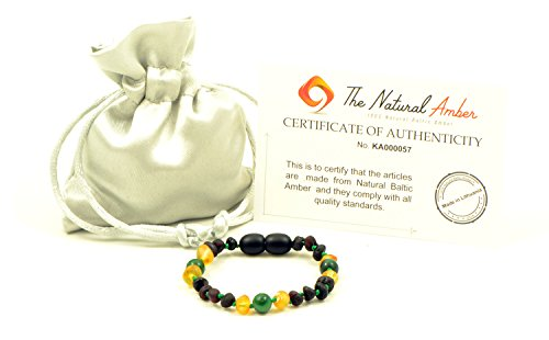 Amber Teething Bracelet/Anklet - Various Sizes - Unisex - Hand-Made from Baltic Amber and African Jade Beads (Raw Cherry/Raw Honey/African Jade, 4.7in (12cm))