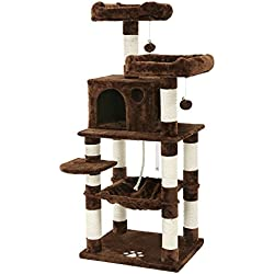 SONGMICS Cat Tree Condo Multi-Level Kitty Play House Sisal Scratching Posts Tower Brown UPCT15Z