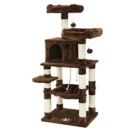 picture SONGMICS Cat Tree Condo Multi-Level Kitty Play House Sisal Scratching Posts Tower Brown UPCT15Z