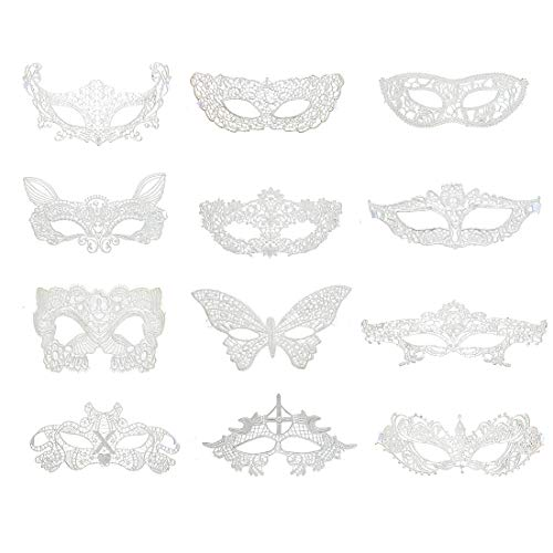iMucci Sexy Lace Masquerade Party Masks - Venetian Style Halloween Party Ball Prom Eye Mask (White,Pack of 12pcs) -