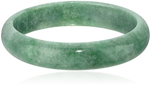 Polished Green Jade Slip On Bangle Bracelet