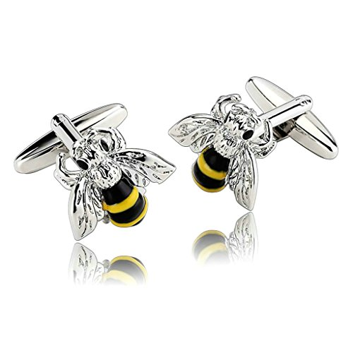 Daesar Men's Stainless Steel Cuff Links Silver Classical Zirconia Bee Insect Cufflink