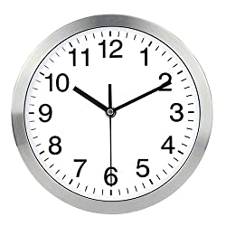 Harryup 12'' Large Wall Clock, Non-Ticking Silent Quartz Decorative Clocks, Modern Style Good for Home Kitchen Living Room Bedroom Office - Stainless Steel Metal Frame