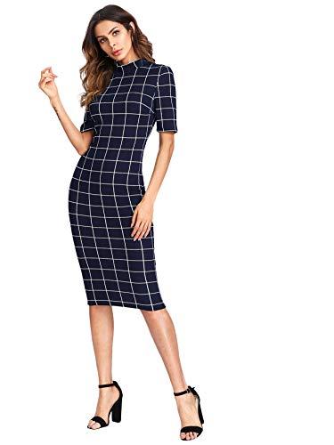 Floerns Women's Short Sleeve Gingham Bodycon Business Pencil Dress Navy XS (Dress Navy Gingham)