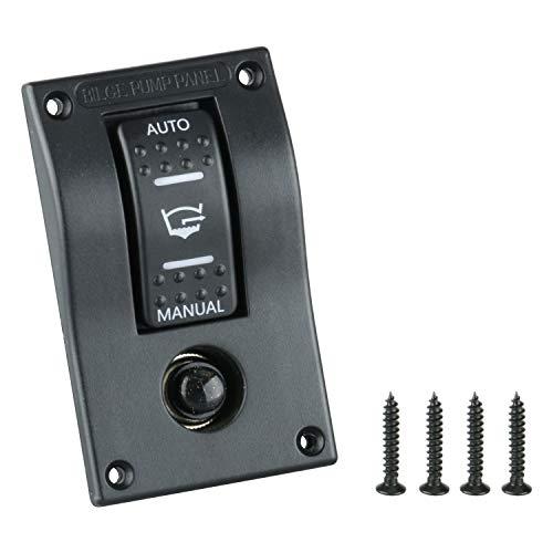 - Amarine Made PN-AB1-4 12v Deluxe LED Rocker Bilge Pump Switch Panel & Circuit Breaker - Auto/Off/Man PN-AB1-4