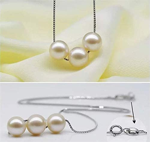 Three Pearls Necklace Silver chain Cultured Freshwater Pearls for Women Girls June Birthstone Necklace