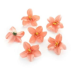 Silk Peony flower heads for crafts bulk decoration Artificial fake Flowers heads orchid Wedding Party Home Room Decoration Marriage Shoe Hats Accessories Handmade Craft Decor 30pcs 7cm (peach) 10