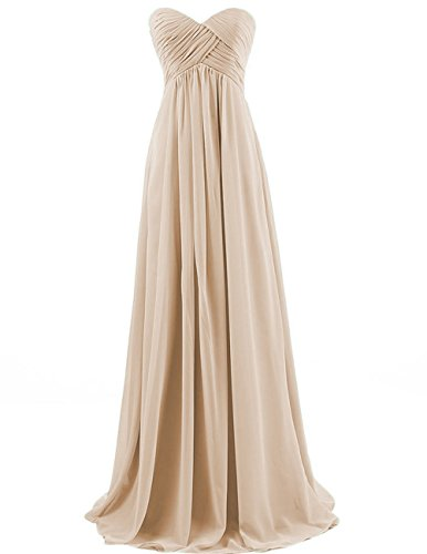 Chiffon Long Bridesmaid Dresses Sweetheart Prom Evening Gowns Party Formal Plus Size Dress Champagne US 26W