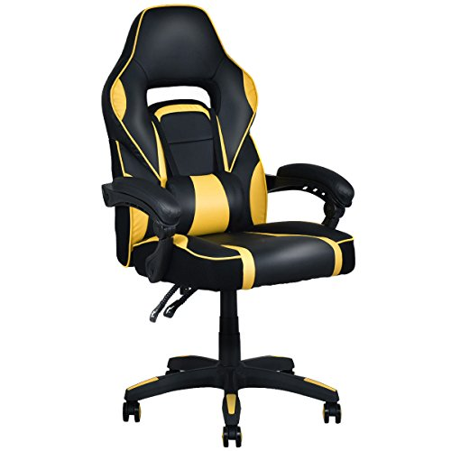 Giantex Gaming Chair Race High Back Reclining Chair Office Swivel Computer Task Desk Chair (Yellow) For Sale