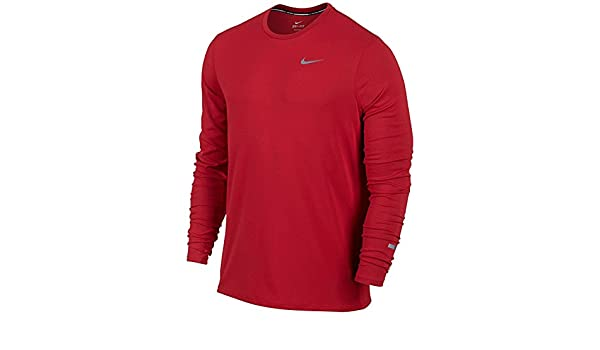 b96acab9 Amazon.com: Nike NIKEMens Running Contour Long Sleeve Shirt Dri-Fit Crew  TEE 849954 Mens RED (S): Sports & Outdoors