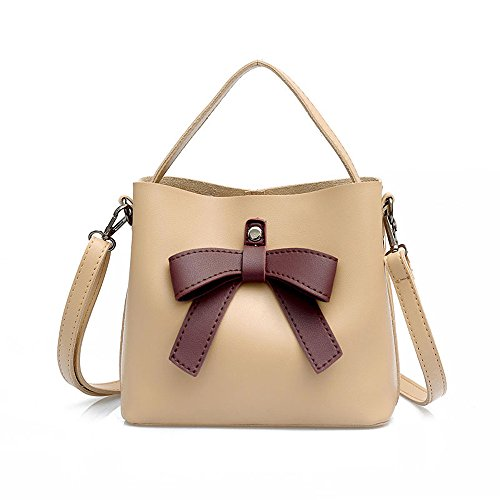 amp; Bag Women Purse Fashion Bags Crossbody Bowknot Tote Beige Leather Khaki Shoulder Messenger Bag PU YSMYWM Handbag Zq0yAdq