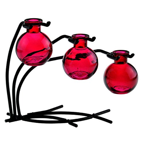 Colorful Glass Floral, Bud or Rooting 3 Ball Vase Set with Stand - G109 Red Vase ~ Use as Flower, Bud, Plant Starter Vase. Colorful Gift Box Included (Red Vase Set)