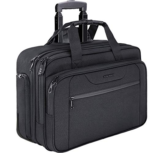 KROSER Rolling Laptop Briefcase Premium Rolling Laptop Bag Fits Up to 15.6 Inch Laptop Water-Repelle