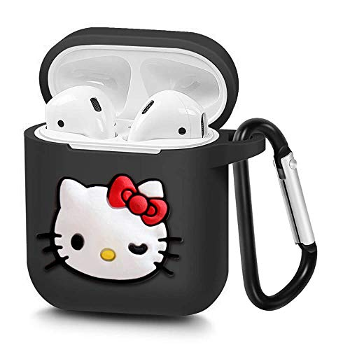 (Airpods Case, Portable Silicone AirPods Charging Case with Carabiner Compatible with Apple Airpods (Hello Kitty))