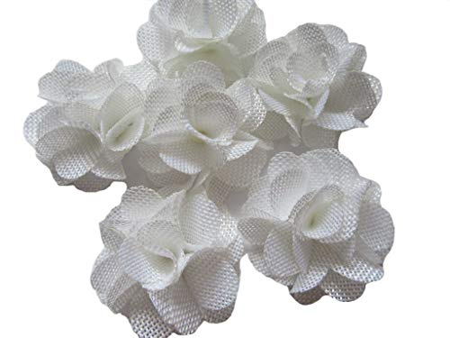 (YYCRAFT 15pcs Burlap Flower Roses,3D Fabric Flowers for Headbands Hair Accessory DIY Crafts/Wedding Party Decorations/Scrapbooking Embellishments(2.25
