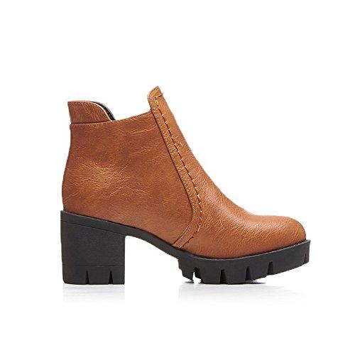 BalaMasa Girls Thread Chunky Heels Gear Bottom Imitated Leather Boots Brown jD2mWAJ