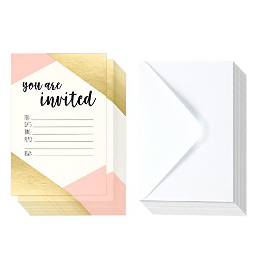 Party Invite (36 Pack Pink and Gold Foil