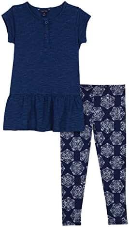 Nautica Girls' Indigo Slub Jersey Top and Legging