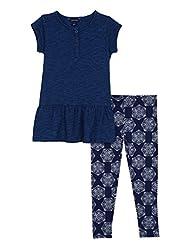 Nautica Little Girls\' Indigo Slub Jersey Top and Legging, Da...