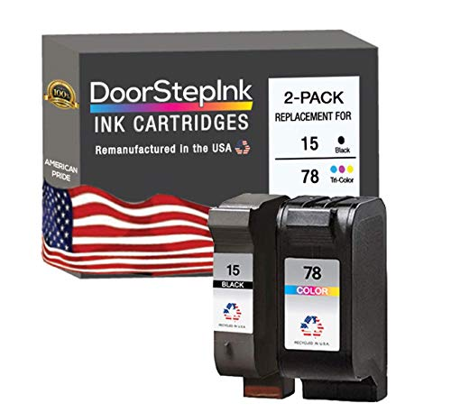 DoorStepInk Remanufactured in The USA Ink Cartridge Replacements for HP 15 C6615DN and HP 78 C6578AN Black and Color Combo Pack for HP DeskJet 810C, 812C, 825C, 825cvr