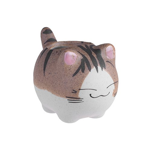BCP Mini Ceramic Cute Animal Shaped Cartoon Home Decoration Vase Flower Pots Cat Shape Planter for Succulent Plant/Cactus Flower (Smile)