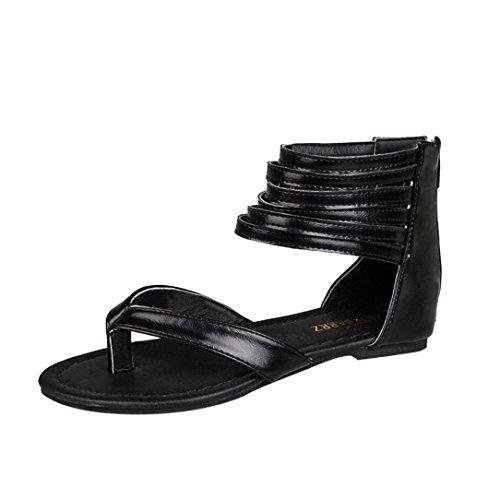 Estivi Styledresser Signore Peep Tacco Spiaggia Eleganti Nero Sandali Donna Toe Casuale Donna Sandali Scarpe Romano Basso rqX1r