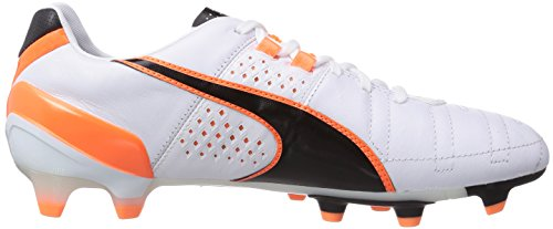 Puma King II FG - zapatillas de fútbol de cuero hombre Blanco - Weiß (white-black-fluo flash orange 02)
