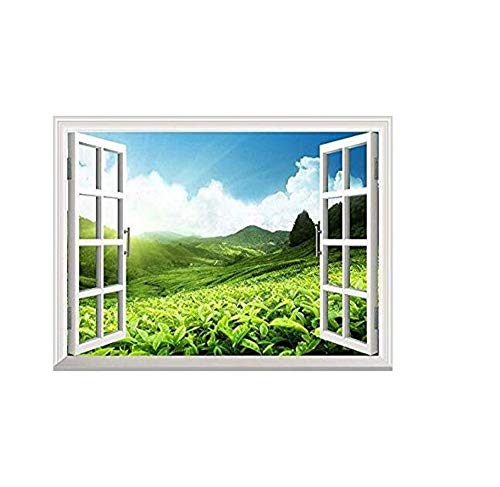 (Wall Stickers Removable Wall Sticker/Wall Mural - Tea Plantation in Mountain, Spring | Creative Window View Home Decor/Wall Decor - 24