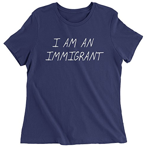 Expression Tees Womens I Am an Immigrant T-Shirt X-Large Navy Blue