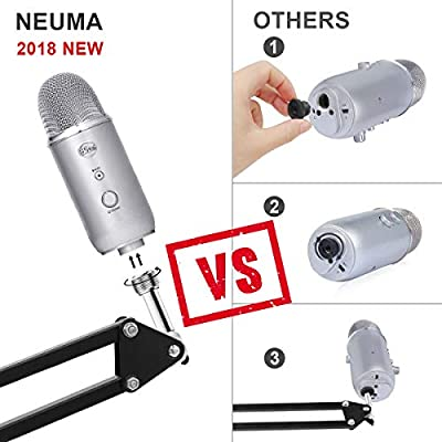 """NEUMA Microphone Suspension Mic Stand Boom Scissor Arm Stand Microphone Clip with 5/8"""" Screw for Blue Yeti, Snowball and All Other Microphones"""