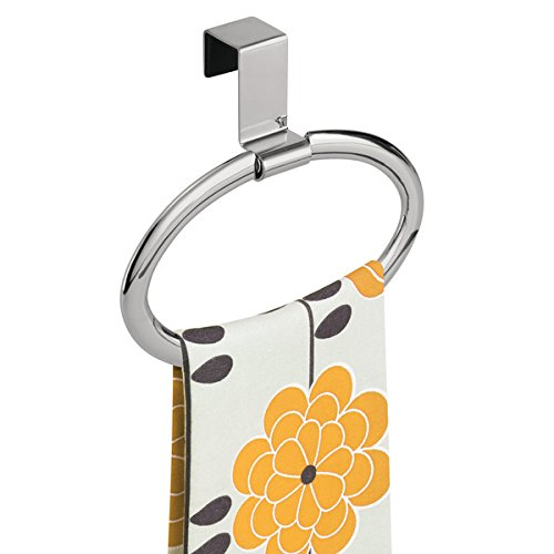 mDesign Kitchen Over Cabinet Strong Steel Round Towel Holder - Hang on Inside or Outside of Doors, Storage and Organizer Ring for Hand, Dish, and Tea Towels - 6.5