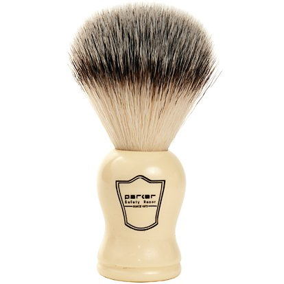 Parker Safety Razor SYNTHETIC Bristle Shaving Brush with Classic Ivory Handle --...