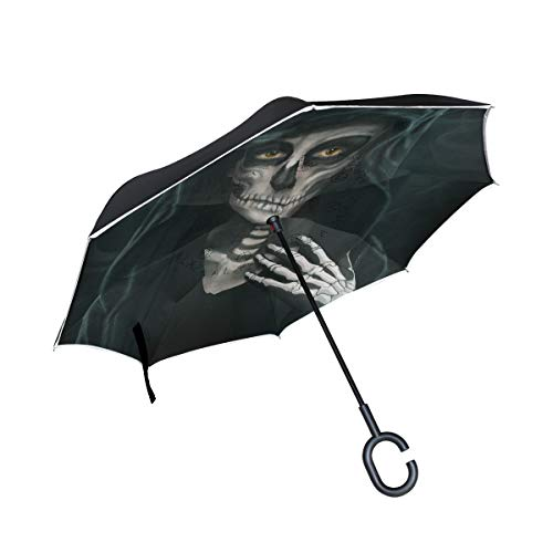 (Top Carpenter Double Layer Reverse Inverted Umbrellas Halloween Makeup Skeleton with C-Shaped Handle for Car)