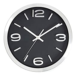 Bernhard Products Wall Clock 10 Inch Modern Silver & Black Round Elegant Metal Quality Quartz, Silent Non Ticking Battery Operated Home Office Clock with 3D Numbers (10 Inch)
