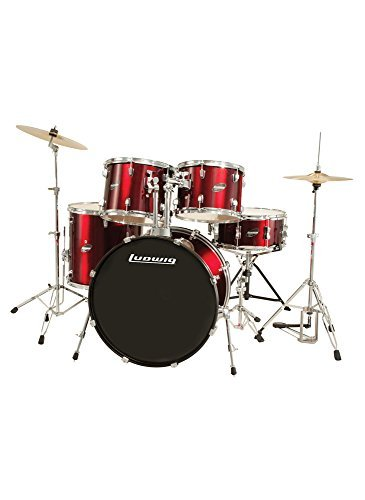 Ludwig Accent Drive Red 5-Piece Drum Set (Includes Hardware, Throne, Pedal, Cymbals, Sticks and Drum Key) ()