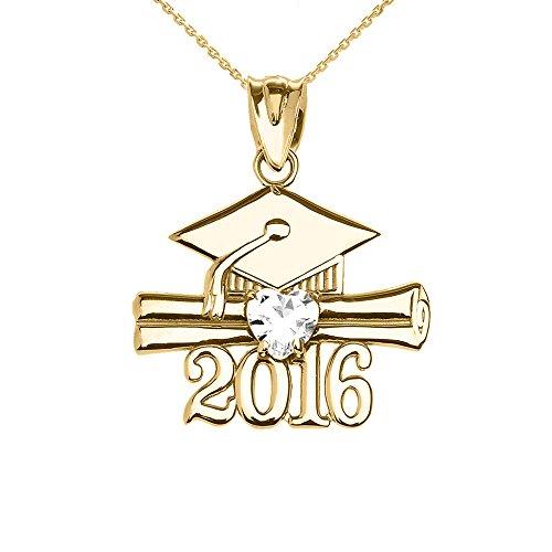 Collier Femme Pendentif 10 Ct Or Jaune Cœur Avril Pierre De Naissance Blanc Oxyde De Zirconium Classe De 2016 Graduation (Livré avec une 45cm Chaîne)